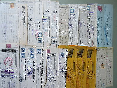 36 Old 1920's-40's Canada Cancelled Bank Checks Cheques Tax Stamps