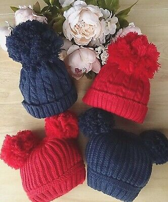 Baby Boy Girl 1 Large or 2 Pom Poms Red Navy Cable Ribbed Knitted Hat 0-12-24mth