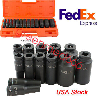 "USPS SHIP Impact Sockets Metric Deep Steel Black 1/2""Drive 6-Point Set of 13"