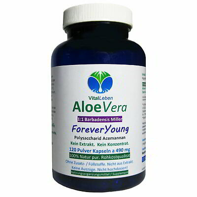 "Aloe Vera 100% Natural 1:1 ""Forever Young"", 120 Kapseln a 450mg, #25883"