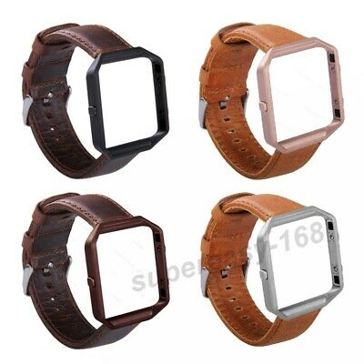 Classic Genuine Leather Watch Band Strap Metal Frame For Fitbit Blaze Watch