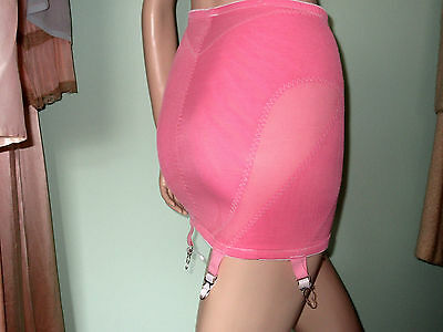 Original vintage 70's does 40's 50's hot pink girdle metal garters suspenders CD