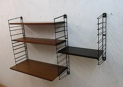 TOMADO wallshelving a desk - 2 teak veneer shelves and 1 rosewood small shelf