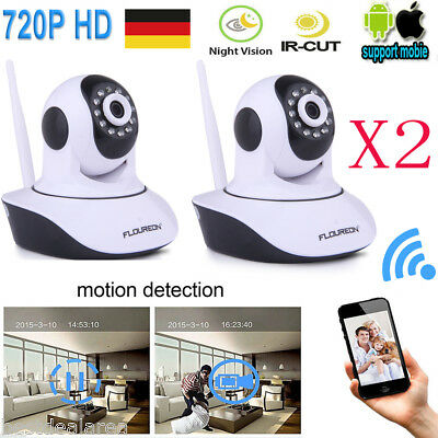 2X 720P Drahtlos Funk Babyphone Wireless WIFI IP Kamera Video Monitor Nachtsicht