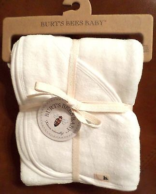 Burt's Bees Baby Organic Cotton Hooded Towel Ivory Solid 29x29 2 Ply Unisex