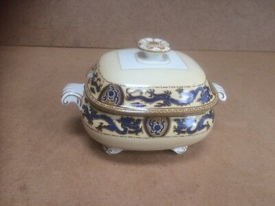 Vintage Retro Booths Silicon China Sugar Bowl & Lid with Green Dragon Design