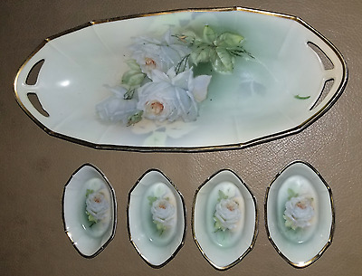 Vintage Bowls with White Rose pattern - Germany circa 1925-30