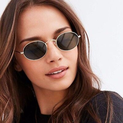 Round Sunglasses Small Women Metal Lens Oval Fashion Frame Vintage Style Circle