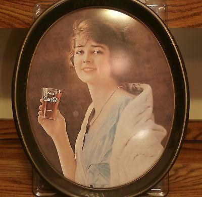 Coca-Cola 1973 Oval Tray Lady Drinking Glass of Coke