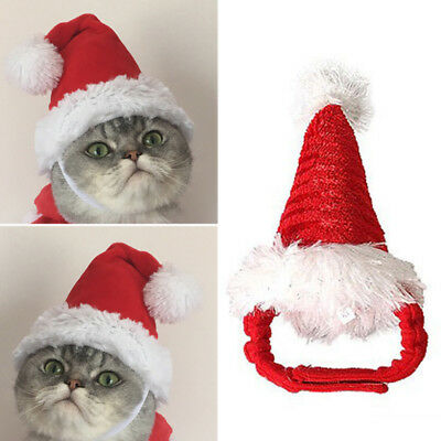 Pet Cat Dog Adjustable Santa Hat Christmas Xmas Red Holiday Costume Apparel