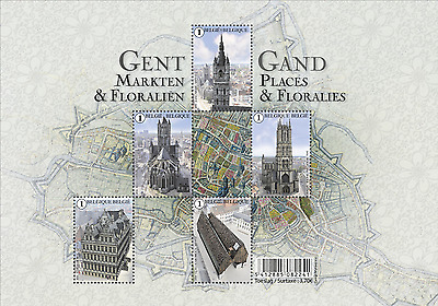Belgium- 2016 - Ghent Marketplaces and Floraries- Sheetlets