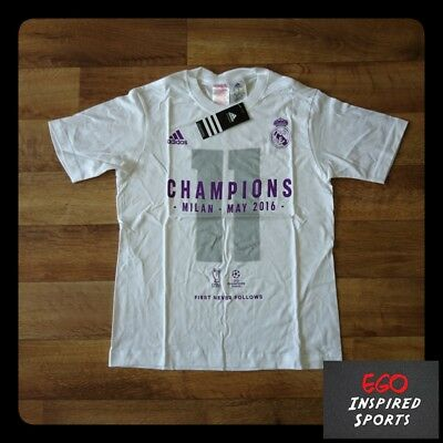 Adidas Youth Real Madrid 2016 Champions League Champions T-Shirt BNWT