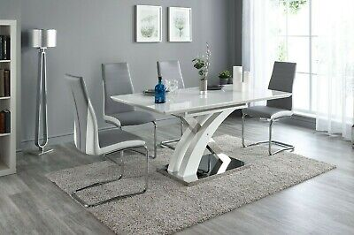 Pescara High Gloss Dining Table with 4/6/8 Grey Luxury Chairs