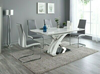 de4c536dbcd3 PESCARA HIGH GLOSS Dining Table with 4/6/8 Luxury Chairs - Tan or ...