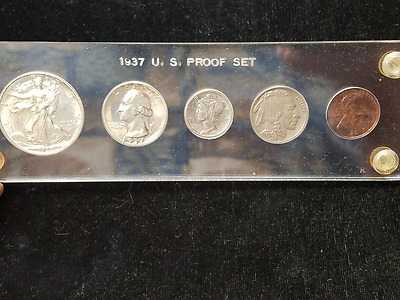 1937 Proof Set !!!  In old time plastic holder from long time collector