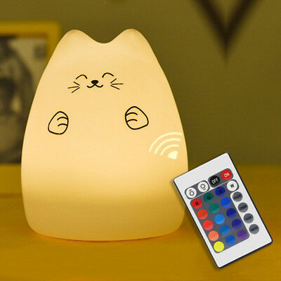 USB Soft Silicone LED Night Light Remote Control Nursery Lamp Color Changing Cat
