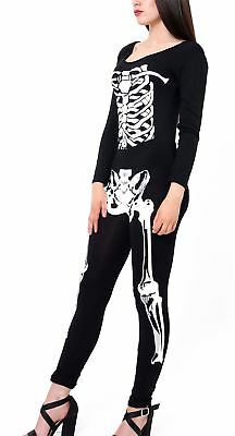 Ladies Halloween Skeleton Scoop Neck Jumpsuit Womens Long Sleeves Fancy Bodysuit