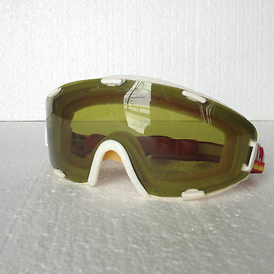 Vintage 1970s KILLY Ski Goggles w/ Amber Lens - Red, Yellow, Orange band France
