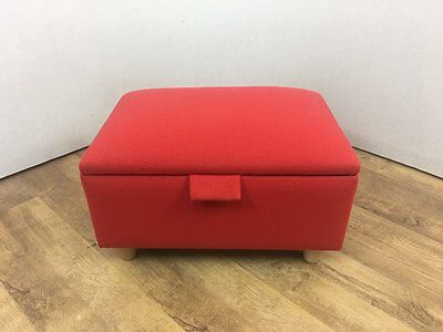 Small Red Linen Footstool Storage Box Pouffe