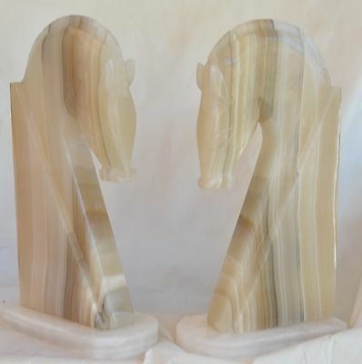 Vintage Large Horse Head Agate Bookends - Set of 2