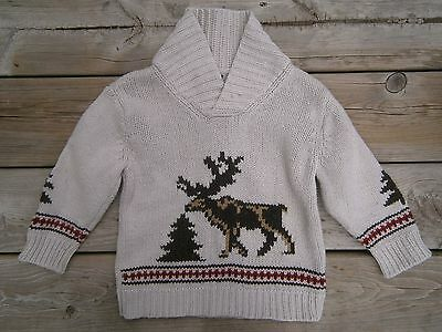 Boys Size 3T ** BABY GAP ** Wool MOOSE SWEATER Fall Winter NATURAL Nature CUTE!!