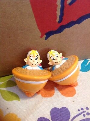 2 Spinning Tops Elf Spinnng Toy Tops Kellogg 2003 Promo Crackle