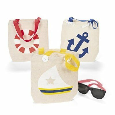 Natural Canvas Nautical Tote Bags 1 dz Travel Totes Luggage, New