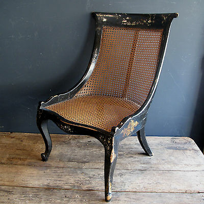 19th Century Ebonised Bergere Chair Mother off Pearl Inlay - Antique Chinoisery