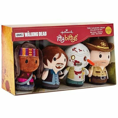 The Walking Dead Hallmark Itty Bittys 4 Pc Collector Set Ltd Ed Zombies 2017 NEW