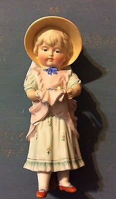 """Antique Victorian Bisque 7.5"""" Piano Baby Doll Girl Figure Standing Large Bonnet"""