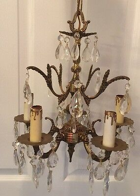 Vintage Petite Chandelier Antique Brass & Crystal Foyer Closet Cottage Chic