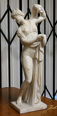 Art Nouveau Continental Alabaster Sculpture of Naked Young Lady Circa 1900