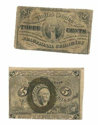US Fractional Note Collection 3c 5c 10c 25c 8 Bills Free Ship $24.88 each