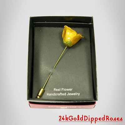 3 24k Gold Dipped Yellow Rose Stick Pins (Free Anniversary Gift Boxes)