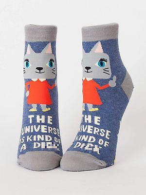 Blue Q Women's Ankle Novelty Socks, The Universe is Kind of a D*** - Blue (OSFA)