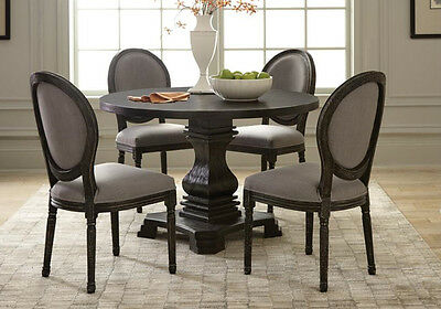 5 pcs Solid Wood Dining Set Round Pedestal Table Fabric Chairs Antique Black