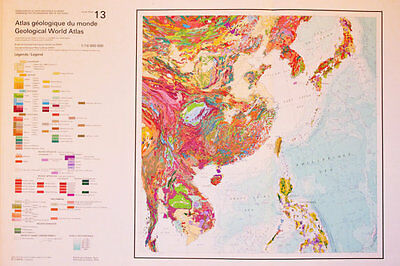 South East Asia, 1976 Vintage Geology Geological Map - Huge 75 x 55 cm