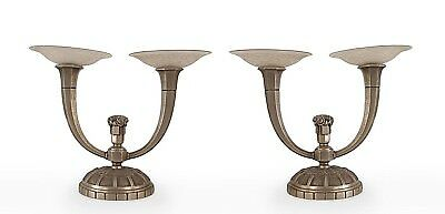 Pair of French Art Deco Candelabra Lamps (Wired)