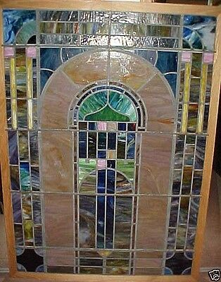 "Vintage Leaded Glass - Stained Glass Window Very Large Size 65"" X 47"" Framed"