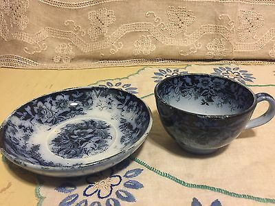 Ironstone Royal Bonn Flow Blue Transferware Cup And Saucer Wildrose Germany