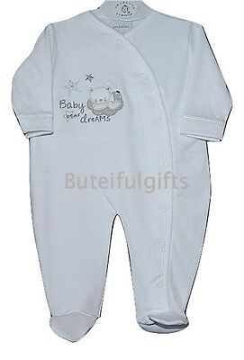 Unisex Babies White Cotton All in One Sleepsuit 0-3 Month