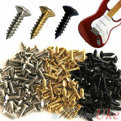 Guitar Scratch Plate Screws  - Chrome Black & Gold (3 x 12mm) Various Quantities