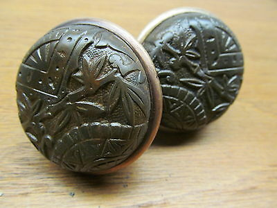 Pair Old Eastlake ?? Broken Leaf  ? Bamboo ?? Door Knobs Brass Band