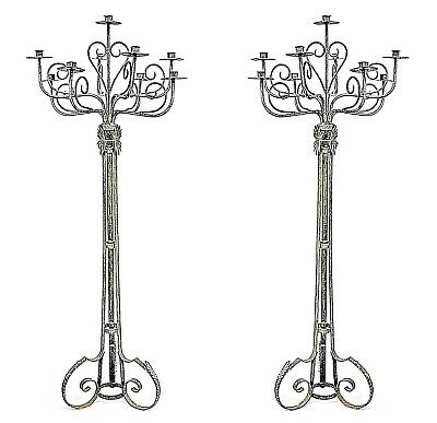 Pair of English Renaissance Style (19/20th Cent) Wrought Iron Floor Torchiere