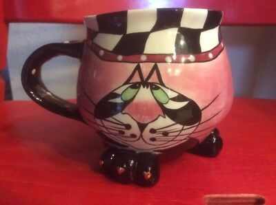 A Rare 2004 SWAK Lynda Corneille Pink, Black And White Ceramic Clancy Cat Cup.