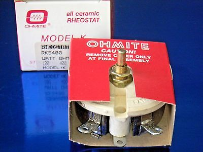 Ohmite RKS400 Rheostat Potentiometer - Model K Wirewound 100 W  400 Ohm .500 Amp