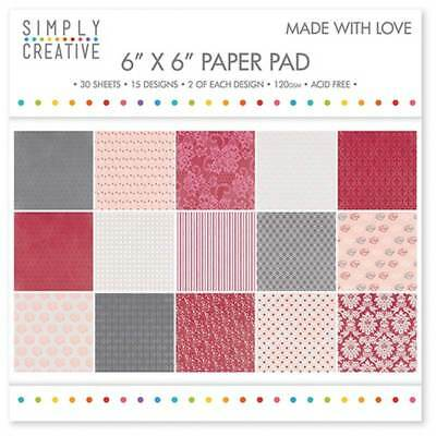 """Simply Creative 6"""" x 6"""" Paper Pad - Made with Love - New Free P &amp"""