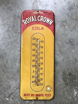 Vintage Royal Crown Cola Large Thermometer Sign Original Soda - Not Porcelain