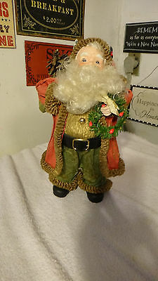"""Santa Claus Figure Bottle Brush Tree Porcelain Hands and Face 11"""" Tall"""
