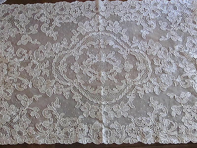 "Antique French Alencon Lace Small Runner 16"" X 12"" W Perfect Hand Made Lt. Tan"